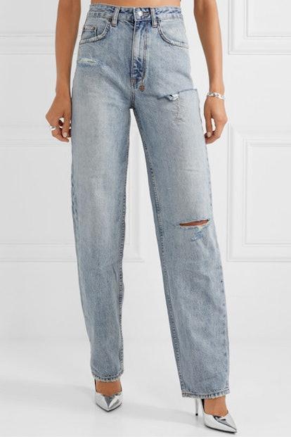 Distressed High-Rise Straight-Leg Jeans