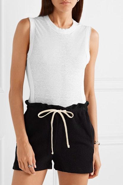 Lexington Slub Linen-Blend Thong Bodysuit