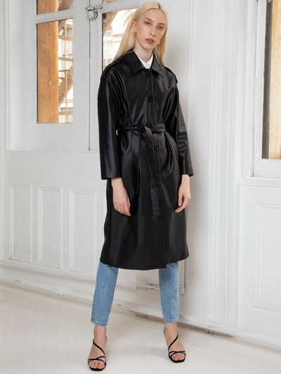 Faux Leather Trench