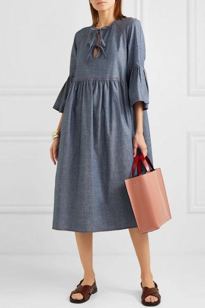 Cotton-Blend Chambray Midi Dress