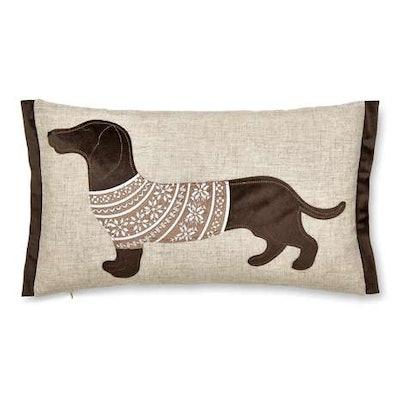 Natural Sausage Dog Embroidered Cushion