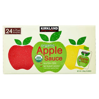 Kirkland Signature Organic Applesauce, 3.17 oz, 24-count
