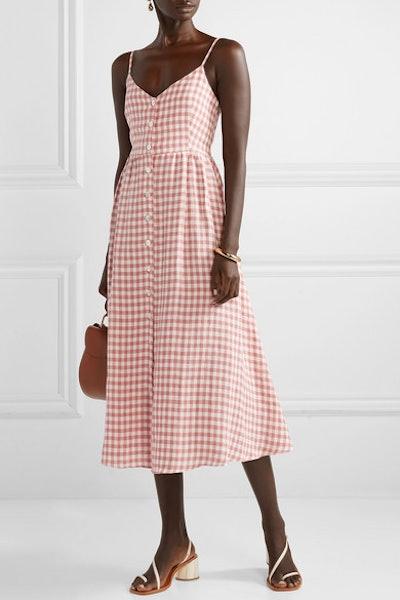 Gingham Linen Midi Dress