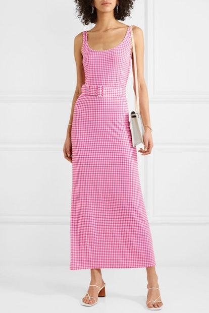 Monica Belted Gingham Stretch-Jersey Midi Dress