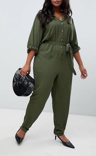 New Look Collar Jumpsuit In Khaki