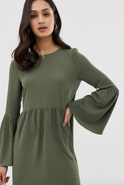 ASOS DESIGN Fluted Sleeve Smock Mini Dress