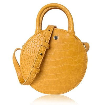 The Lovely Tote Co. Women's Fashion Mini Crocodile Circle Crossbody Bag