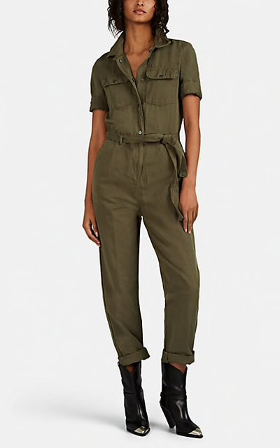 Cotton-Linen Belted Jumpsuit