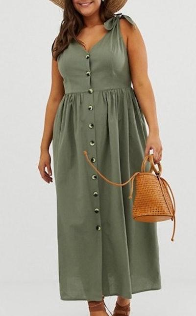 Button Through Smock Maxi Dress