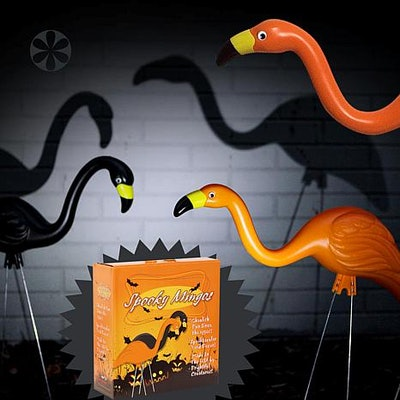 2-Pack Spooky Halloween Flamingo Lawn Statues