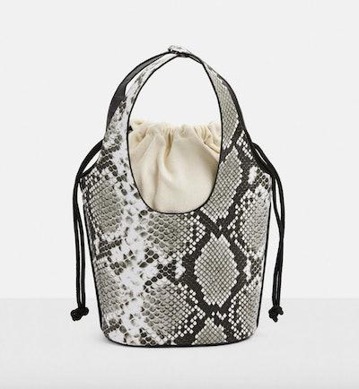Grey Snake Top Handle Mini Bucket Bag