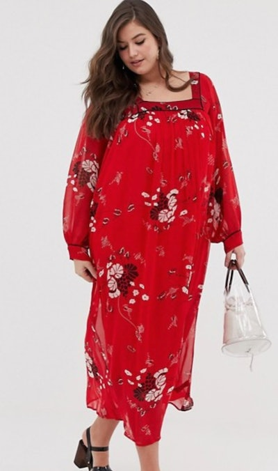 ASOS DESIGN Curve Floaty Square Neck Maxi Dress With Piping In Floral Print