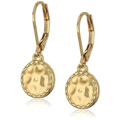 Napier Classics Gold-Tone Hammered Disk Drop Earrings