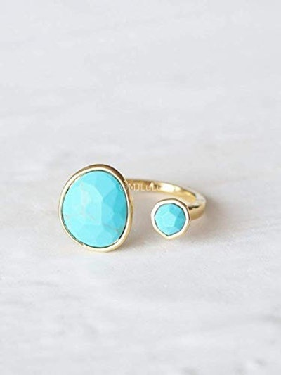 Double Stone Blue Simulated Turquoise Open Circle Gold Plated Brass Ring