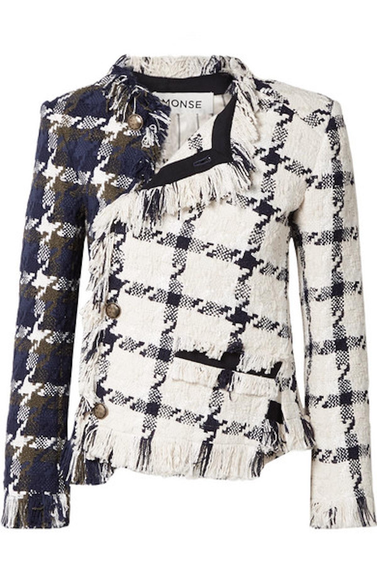 Asymmetric Fringed Cotton-Blend Tweed Jacket