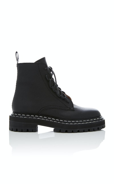 Leather Contrast-Stitched Combat Boots