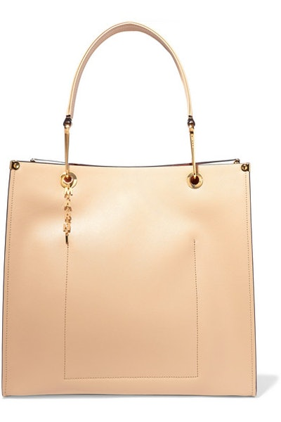 Large Two-Tone Textured-Leather Tote