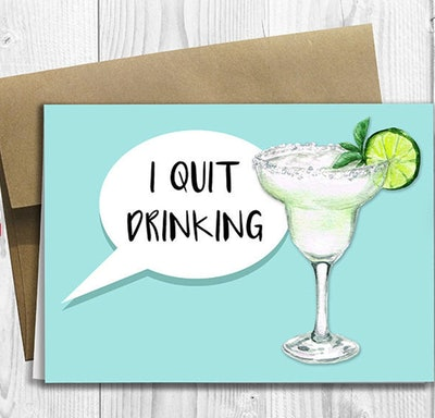 I Quit Drinking - Pregnancy Announcement 5x7 Greeting Card