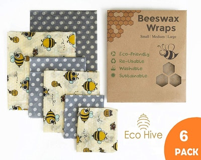 Reusable Beeswax Food Wraps (6-Pack)