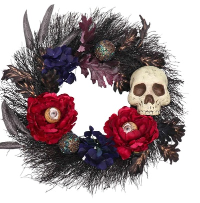 "22"" Burgundy & Navy Blue Peony & Skull Wreath"
