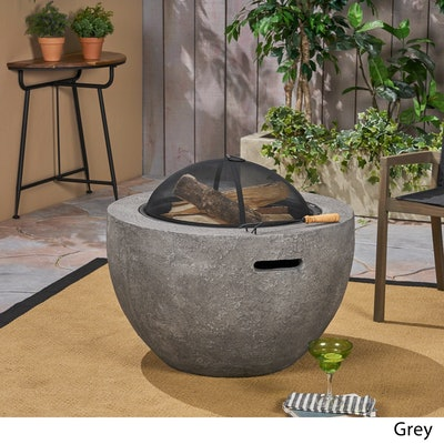 Christopher Knight Home Wood Burning Light-Weight Concrete Round Fire Pit