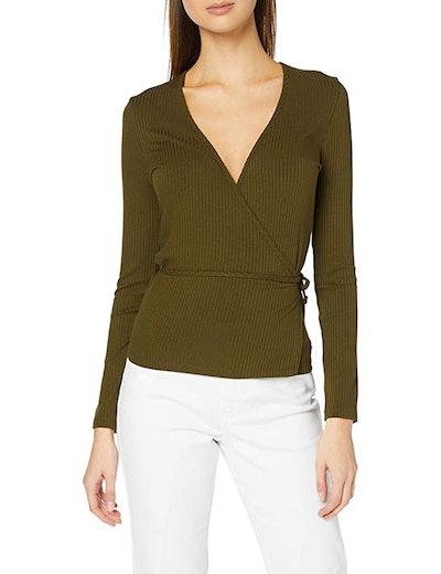 find. Women's Long Sleeve V-Neck Wrap T-Shirt
