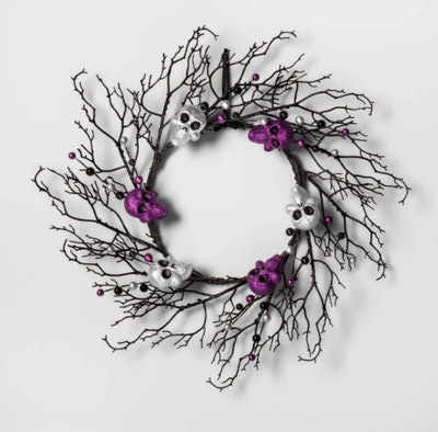 Skull and Berries Black Twig Halloween Wreath