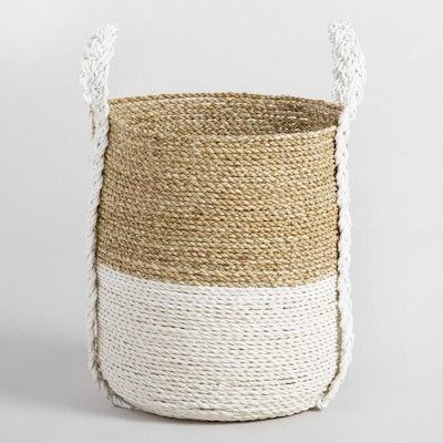 Medium Two Tone Seagrass Bianca Tote Basket