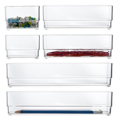 STORi Clear Plastic Vanity and Desk Drawer Organizers (6-Piece Set)