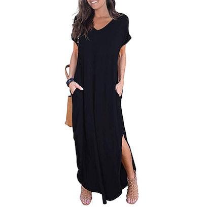 GRECERELLE Women's Casual Loose Pocket Long Dress