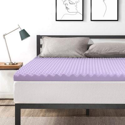 Best Price Mattress 3-Inch Egg Crate Memory Foam Bed Topper, Lavender