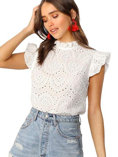 Romwe Women's Sleeveless Ruffle Stand Collar Embroidery Button Slim Cotton Blouse Top