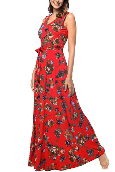 Comila Women's Summer V Neck Floral Maxi Dress