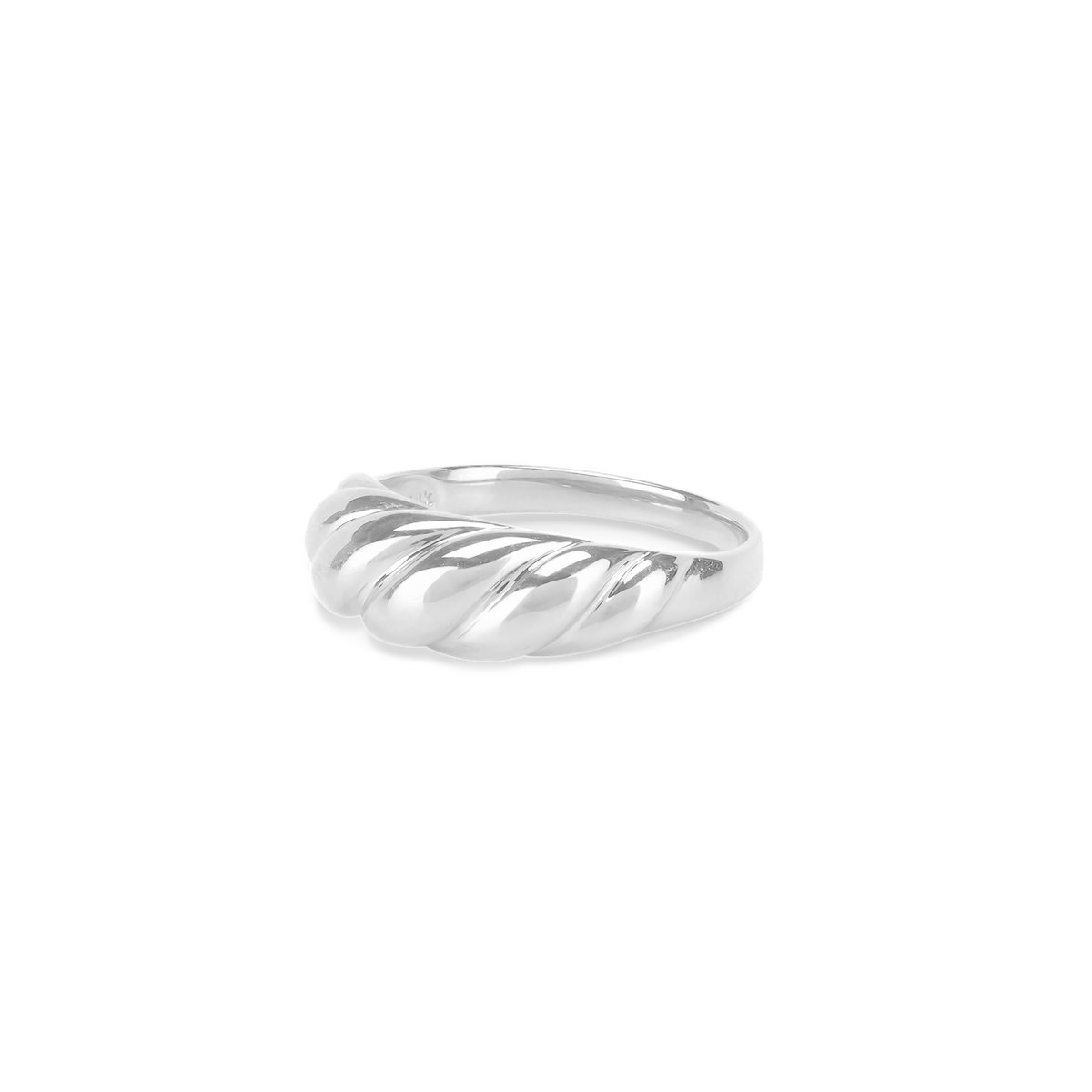 Thin Croissant Dôme Ring in 14K White Gold