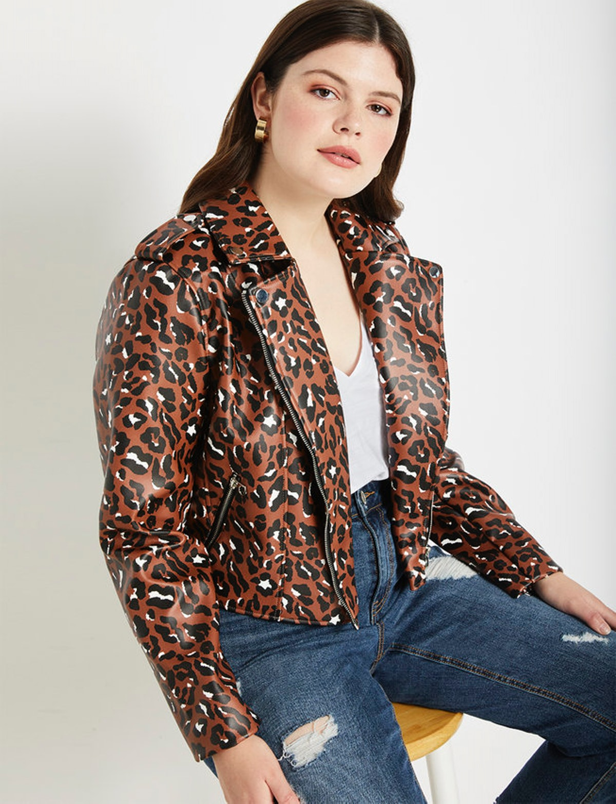 "Cropped Moto Jacket in ""Speckled Leopard"""