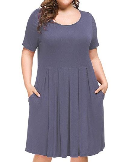 Tralilbee Women's Plus Size Short Sleeve Dress