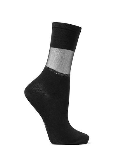Sheer Elegance Mesh-Trimmed Cotton-Blend Jersey Socks