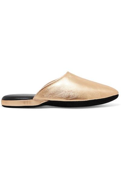 Metallic Textured-Leather Slippers