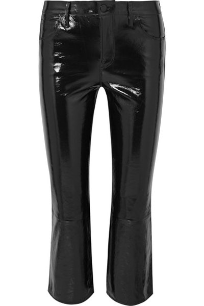 J Brand Selena Cropped Glossed-Leather Bootcut Pants