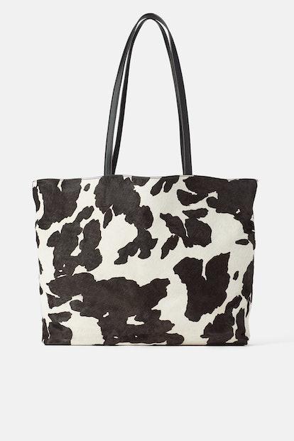 Animal Print Leather Shopper
