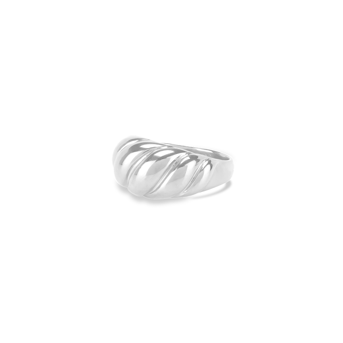 Croissant Dôme Pinky Ring in Sterling Silver