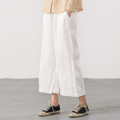 Ecupper Womens Casual Loose Elastic Waist Cotton Trouser