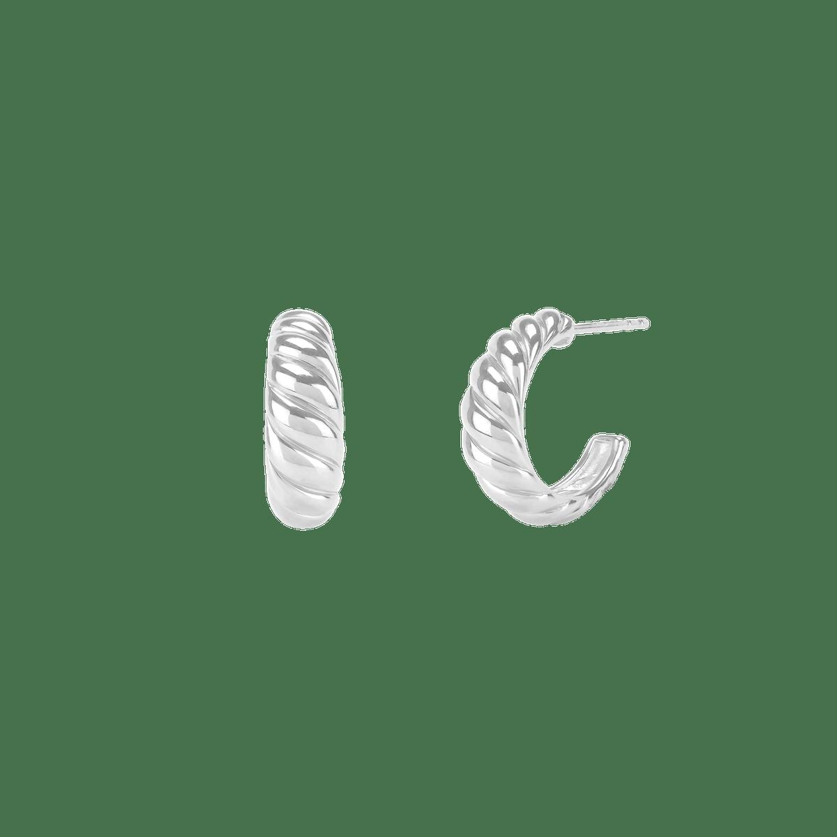 Croissant Dôme Earrings in Sterling Silver