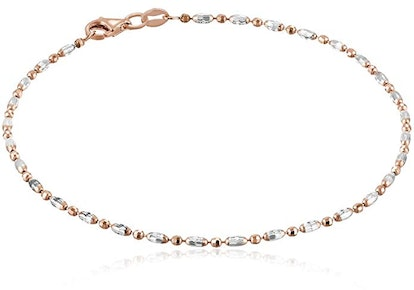 Italian Sterling Silver Rhodium Plated Diamond Cut Oval and Round Beads Mezzaluna Chain Ankle