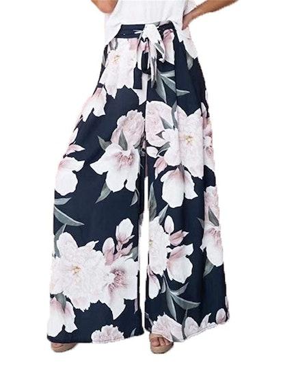BerryGo Women's Boho High Waist Wide Leg Pants
