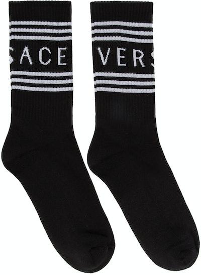 Black Ribbed Athletic Socks