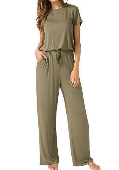 LAINAB Women's Short Sleeve Loose Wide Legs Casual Jumpsuit