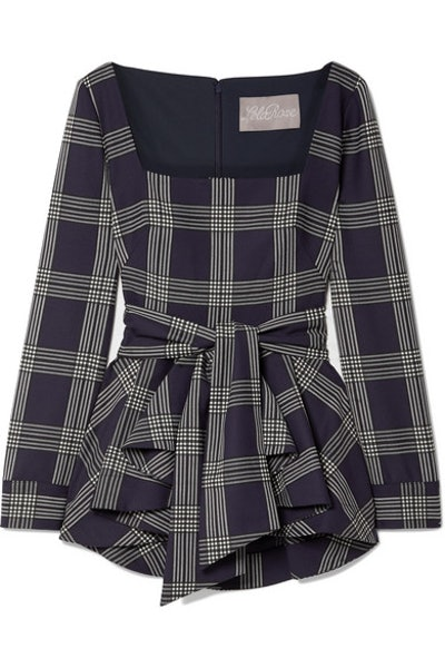 Belted Checked Woven Peplum Blouse