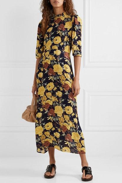 Ella Ruffle-Trimmed Floral-Print Crepe Midi Dress