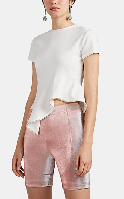 Crystal-Embellished Peplum Crop T-Shirt